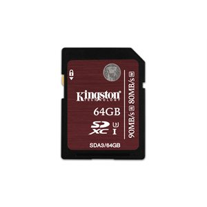 64GB SDXC UHS-I SPEED CLASS 3 FLASH CARD 90R/80W
