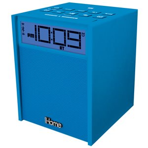 IHOME RUBBERIZED NFC BLUETOOTH DUAL ALARM FM CLOCK RADIO WITH USB CHARGING/AUX IN BLUE