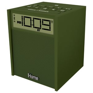 IHOME RUBBERIZED NFC BLUETOOTH DUAL ALARM FM CLOCK RADIO WITH USB CHARGING/AUX IN MILITARY