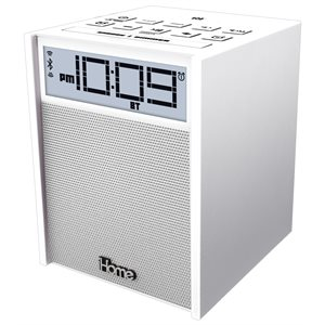 IHOME RUBBERIZED NFC BLUETOOTH DUAL ALARM FM CLOCK RADIO WITH USB CHARGING/AUX IN WHITE