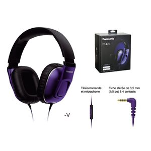 PANASONIC RPHT470CCV HEADPHONES MONITOR AROUND EAR, 40MM DRIVER, IPHONE CONTROLLER, MIC - VIOLET
