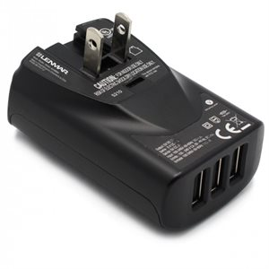 LENMAR AC TO USB WALL CHARGER WITH 4 USB PORTS, BLACK