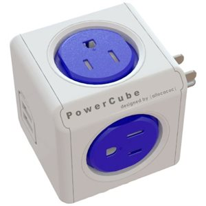 PowerCube Original USB, Electric Outlet Wall Adapter Power Strip with 4 outlets, Dual USB Port and Resettable Fuse - blue