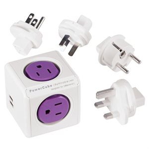 POWERCUBE TRAVELLER REWIRABLE USB + 4 PLUGS (USA - EU - AUS - UK) - CETL *COMING SOON