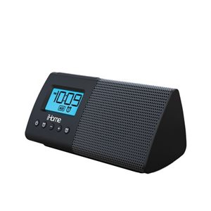 IHOME IHM46 PORTABLE SPEAKER WITH DUAL ALARM CLOCK, LINE IN JACK AND USB CHARGING