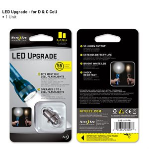 NITE IZE LRB2-07-PR LED UPGRADE FOR MOST C OR D CELL FLASHLIGHTS