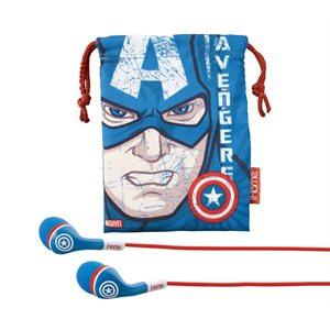 EKIDS VI-M15CW.FXV2 CAPTAIN AMERICA NOISE-ISOLATING EARBUDS WITH BUILT-IN MICROPHONE AND POUC