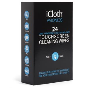 iCloth iCA24 ® AVIONICS TOUCHSCREEN CLEANING WIPES (24 WIPES) *** ENGLISH ONLY ***