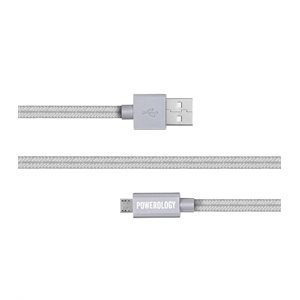 POWEROLOGY 6 FEET BRAIDED MICRO USB CABLE - SILVER