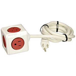 POWERCUBE EXTENDED - 5 OUTLETS - RED 5' CORD/1.5m W/ SURGE