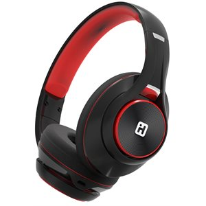IHOME iB90V2 BLUETOOTH WIRELESS HEADPHONES w/EXTRA LONG LIFE BATTERY  BLACK/RED*BILINGUAL*