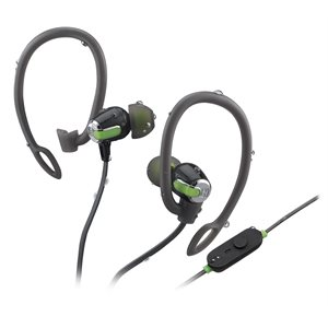IHOME IB71BRC WATER RESISTANT BLUETOOTH WIRELESS  2-IN-1 SPORT EARPHONE WITH MIC - GREY/GREEN
