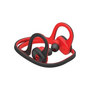 IHOME WATER RESISTANT BLUETOOTH BEHIND THE NECK SPORT EARPHONES w/MIC & POUCH BLACK/RED