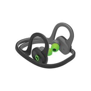 IHOME WATER RESISTANT BLUETOOTH BEHIND THE NECK SPORT EARPHONES w/MIC & POUCH GREY/GREEN
