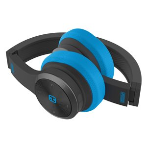 iHOME SPLASHPROOF,SWEATPROOF & RUGGED FOLDABLE BLUETOOTH HEADPHONES w/MIC & POUCH BLACK/BLUE