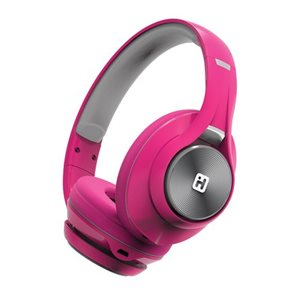 IHOME iB90V2 BLUETOOTH WIRELESS HEADPHONES w/EXTRA LONG LIFE BATTERY  PINK*BILINGUAL*