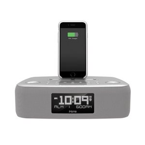 iHOME DUAL ALARM FM STERO CLOCK RADIO W/LIGHTNING CONNECTOR & USB CHARGING *WHITE*