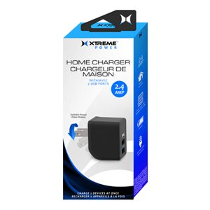XTREME 2 PORT 2.4 AMP HOME CHARGER. LED INDICATOR, FOLDABLE PRONGS BLACK