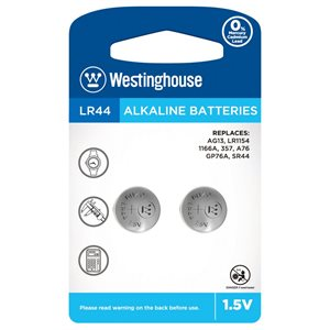 WESTINGHOUSE Battery button LR44 1,5V alkaline, blister 2pcs
