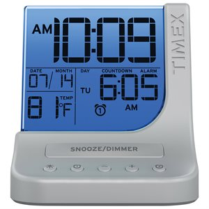 TIMEX T125SC COLOR CHANGING DUAL ALARM CLOCK WITH 1 AMP USB PORT - SILVER*BILINGUAL*