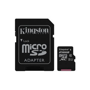 Kingston 256GB microSDXC Canvas Select 80R CL10 UHS-I Card+Adptr, Canada Retail