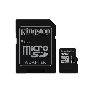 Kingston 32GB microSDHC Canvas Select 80R CL10 UHS-I Card+Adptr, Canada Retail