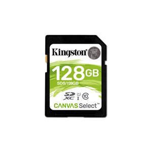Kingston 128GB SDXC Canvas Select 80R CL10 UHS-I (Candian Retail)