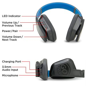 GOgroove BlueVIBE FXT Bluetooth On-Ear Sports Headset-Featuring IPX4 water&sweat resistant*BLK/BLUE