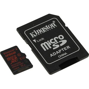 Carte mémoire Flash microSDHC/SDXC UHS-I U3 90R/80W de 128Go avec adapteur de Kingston